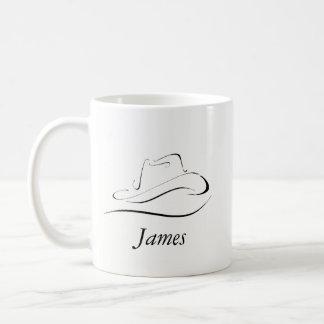 Caneca de café customizável com chapéu de vaqueiro