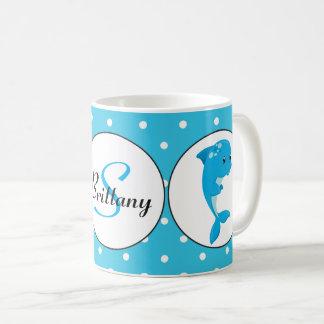 Caneca de café customizável do golfinho bonito da