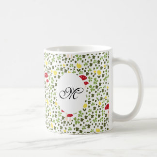 Caneca De Café Cute saltas flower pattern monogram mug