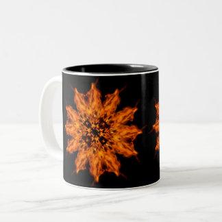 Caneca de café da arte do fogo da mandala da flor