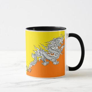 Caneca de café da bandeira de Bhutan
