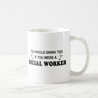 Caneca De Café Da bebida assistente social demasiado -