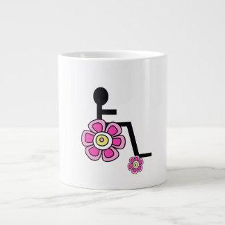 Caneca de café da cadeira de rodas de flower power
