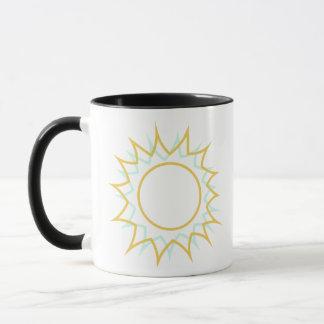 Caneca de café da elevação e do brilho com Sun