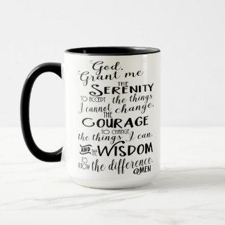 Caneca de café da fé da oração da serenidade