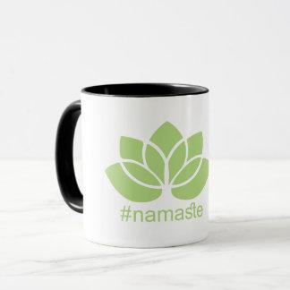 Caneca de café da ioga de Lotus do #namaste