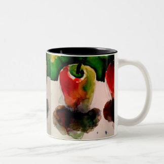 Caneca de café da pintura da aguarela das maçãs