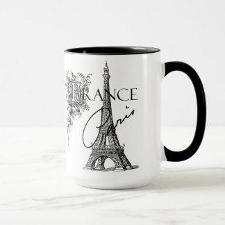 Caneca de café da torre Eiffel de Paris do vintage