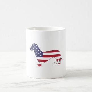 """Caneca De Café Dachshund """"bandeira americana """""""