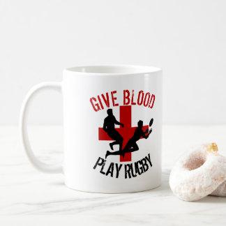 Caneca De Café Dê a rugby do jogo do sangue o esporte engraçado