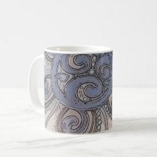 """Caneca De Café De """"caneca azul do design da onda cérebro"""""""