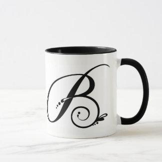 Caneca de café de dois tons com inicial