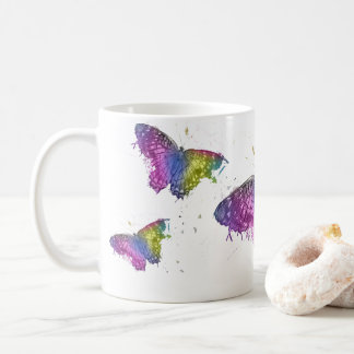 Caneca de café de néon da borboleta da pintura
