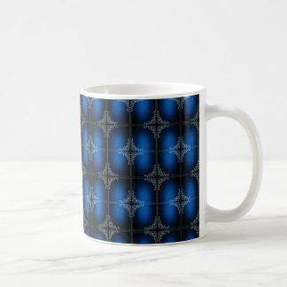 Caneca De Café Decoração da flor azul escuro e branca