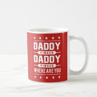 Caneca De Café Dedo retro branco vermelho do pai onde está você