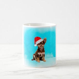 Caneca De Café Deixais lhe para nevar cão da chihuahua do Natal