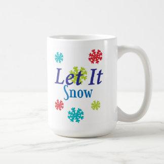 Caneca De Café Deixais lhe para nevar com flocos de neve