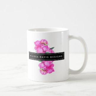 Caneca De Café Desenhista floral do grupo das peônias da aguarela
