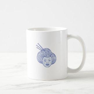 Caneca De Café Desenho da cabeça da menina de gueixa