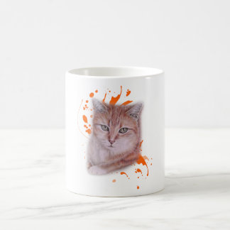 Caneca De Café Desenho do gato e da pintura alaranjados de gato