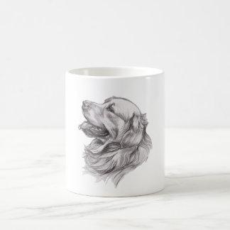Caneca De Café Desenho do retrato do carvão vegetal de um golden