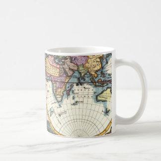 Caneca De Café Desenho velho da ilustração do mapa do mundo da