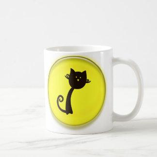 Caneca De Café Desenhos animados bonitos do gato preto no design