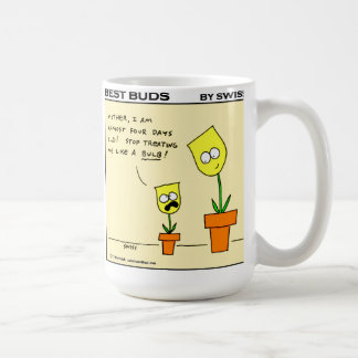 Caneca De Café Desenhos animados de jardinagem botões amarelos