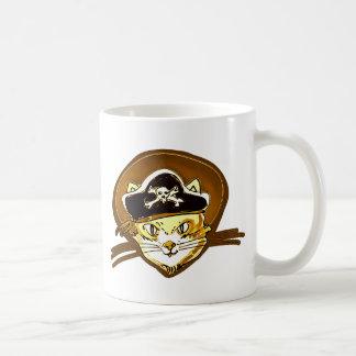 Caneca De Café desenhos animados doces do ouro do gato do pirata