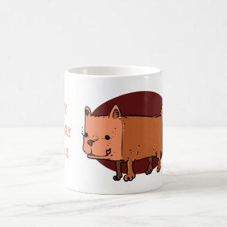 Caneca De Café desenhos animados engraçados do cão do retângulo