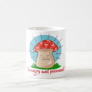 Caneca De Café desenhos animados engraçados do cogumelo irritado