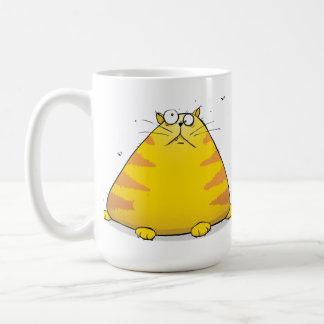 Caneca De Café Desenhos animados gordos enormes do gato no grande