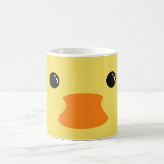 Caneca De Café Design animal bonito da cara do pato amarelo