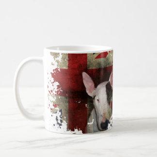 Caneca De Café Design branco clássico da bandeira de bull terrier