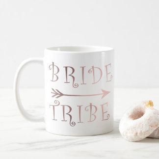 Caneca De Café design cor-de-rosa do tribo da noiva da folha de