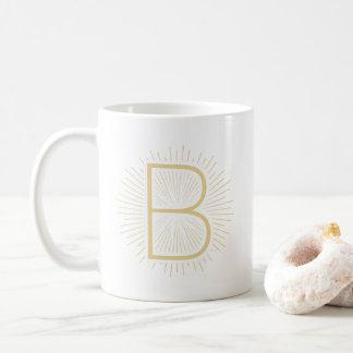 Caneca De Café Design de brilho dos raios da letra do monograma