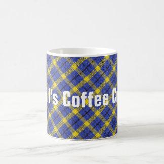 Caneca De Café Design diagonal azul e amarelo do tecido da xadrez