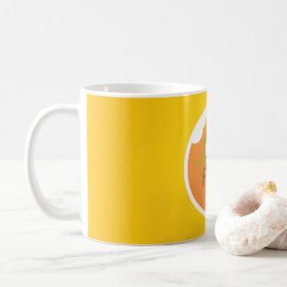 Caneca De Café Design do fundo do amarelo da comida do amor