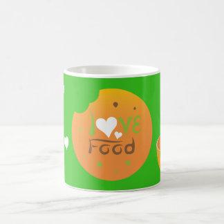 Caneca De Café Design do fundo do verde da comida do amor de