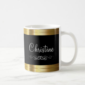 Caneca De Café Design elegante do copo de café do monograma das
