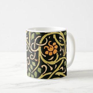 Caneca De Café Design floral preto do impressão da arte de