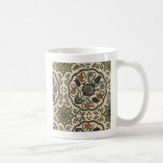 Caneca De Café Design persa floral decorativo do azulejo