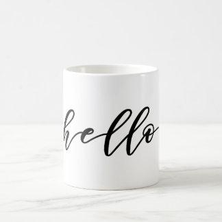 Caneca De Café Design simples do olá! no roteiro bonito da