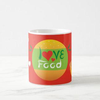 Caneca De Café Design vermelho do fundo da comida do amor de