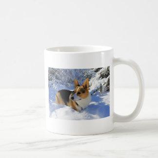 Caneca De Café Dia da neve do Corgi de Galês