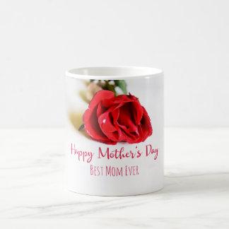 Caneca De Café Dia das mães feliz com uma única rosa vermelha
