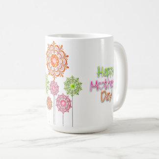 Caneca De Café Dia das mães - flores brilhantes 2 do divertimento