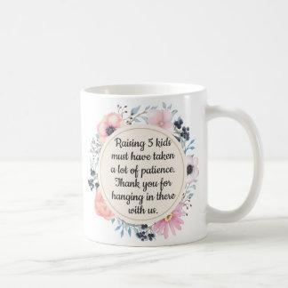 Caneca De Café Dia das mães paciente da mamã da grinalda floral