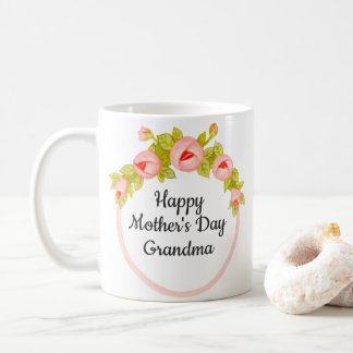 Caneca De Café Dia das mães paciente floral cor-de-rosa da avó