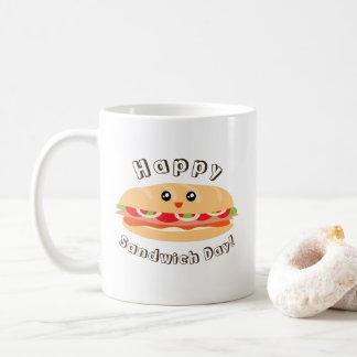 Caneca De Café Dia nacional feliz do sanduíche bonito e Kawaii